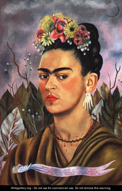 """Self Portrait Dedicated to Dr. Eloesser"" by Frida Kahlo 1940"